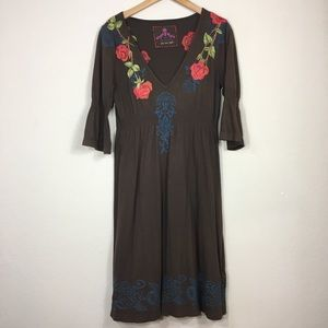 Johnny Was Brown Embroidered Dress